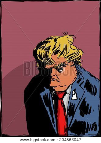 Sketch Of Scowling Donald Trump