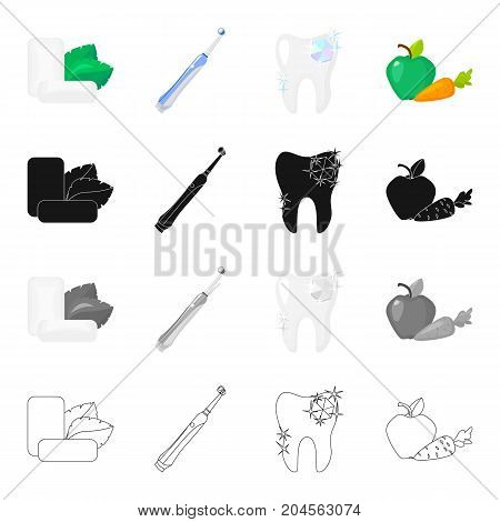 Mint chewing gum, a mechanical toothbrush for dental care, a healthy tooth, healthy vegetables. Dental care set collection icons in cartoon black monochrome outline style vector symbol stock illustration .