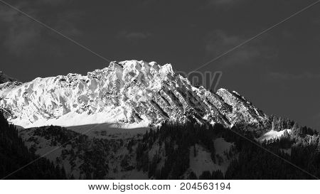 Unknown mountain peak in Austrian alps black and white