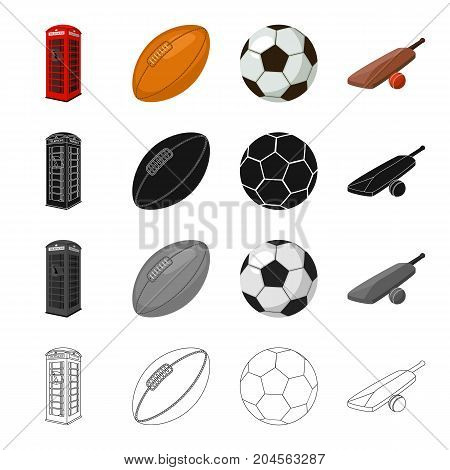 Red telephone booth, rugby ball and football, English cricket game. England set collection icons in cartoon black monochrome outline style vector symbol stock illustration .