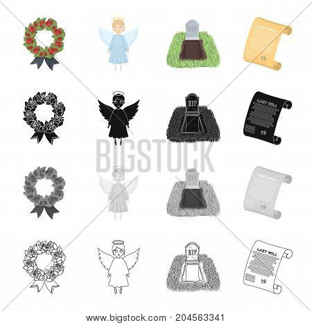 Funeral wreath, angel, grave in the cemetery, testament of the deceased. Funeral Ceremony set collection icons in cartoon black monochrome outline style vector symbol stock illustration .