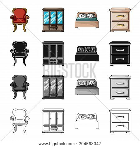 Retro furniture, armchair, wardrobe with glasses, bed, chest of drawers. Furniture and interior set collection icons in cartoon black monochrome outline style vector symbol stock illustration .