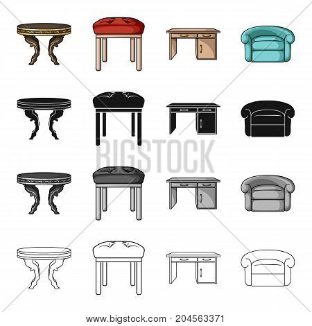 A dining table, a stool, an interior, a desk, an armchair. Furniture and home interiors set collection icons in cartoon black monochrome outline style vector symbol stock illustration .