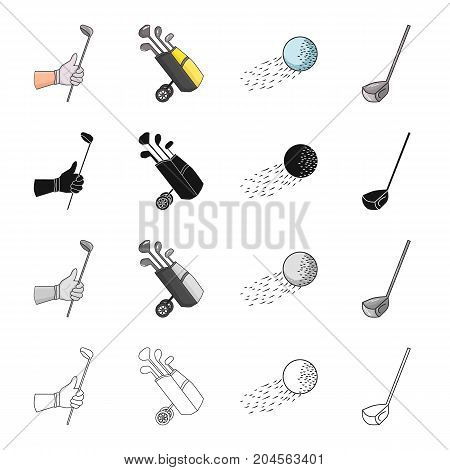 Golf stick in hand, putter in bag, ball in flight, stick. Golf set collection icons in cartoon black monochrome outline style vector symbol stock illustration .