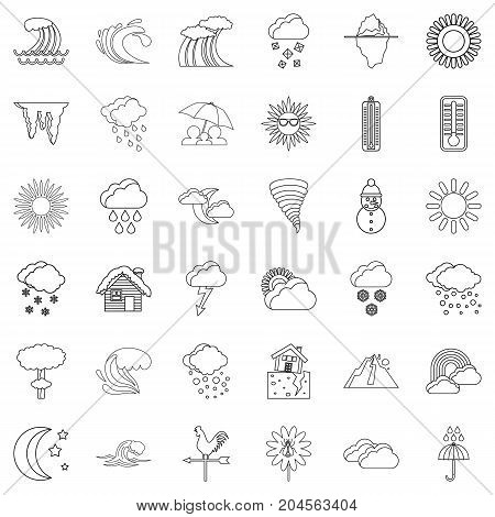 Thermometer icons set. Outline style of 36 thermometer vector icons for web isolated on white background