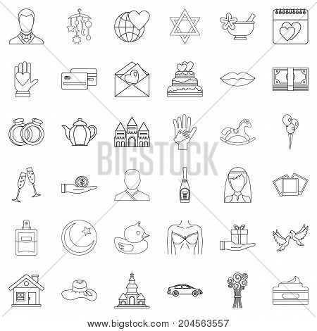 Romance icons set. Outline style of 36 romance vector icons for web isolated on white background