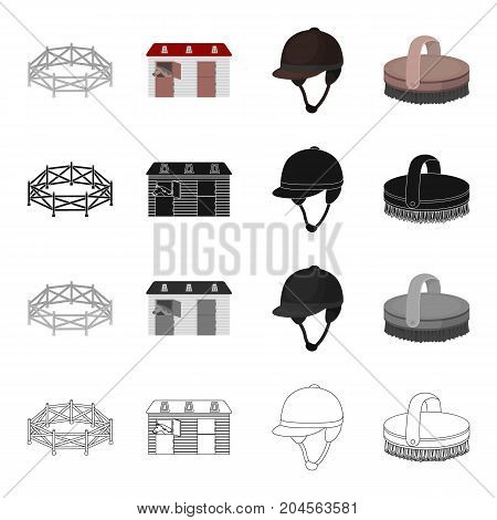 Horse race, stables, jockey rider, brush. Hippodrome and horse racing set collection icons in cartoon black monochrome outline style vector symbol stock illustration .