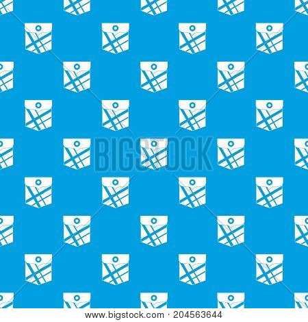 Black pocket patch pattern repeat seamless in blue color for any design. Vector geometric illustration