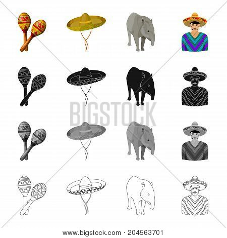 Maracas, sombrero, tapir, Mexican. Country Mexico set collection icons in cartoon black monochrome outline style vector symbol stock illustration .