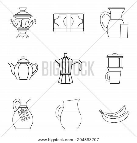 Tea pots icon set. Outline set of 9 tea pots vector icons for web design isolated on white background