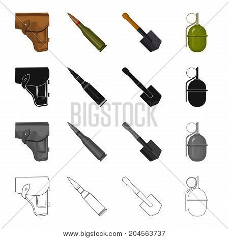 A holster of a pistol, a fighting cartridge, an army shovel, a hand grenade. The military and the army set collection icons in cartoon black monochrome outline style vector symbol stock illustration .