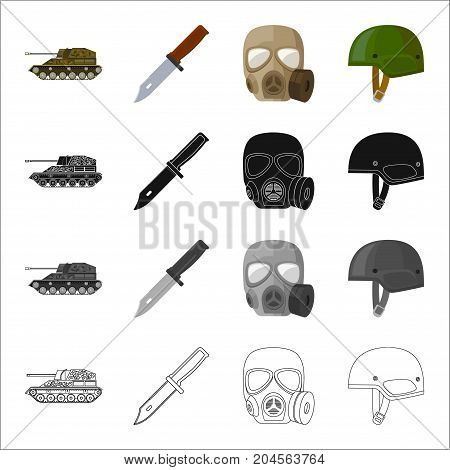 Self-propelled gun, combat knife, military gas mask, army helmet. Military and army set collection icons in cartoon black monochrome outline style vector symbol stock illustration .