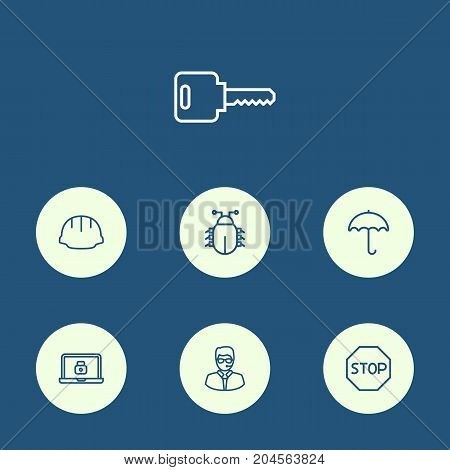 Collection Of Parasol, Lock, Open And Other Elements.  Set Of 7 Procuring Outline Icons Set.