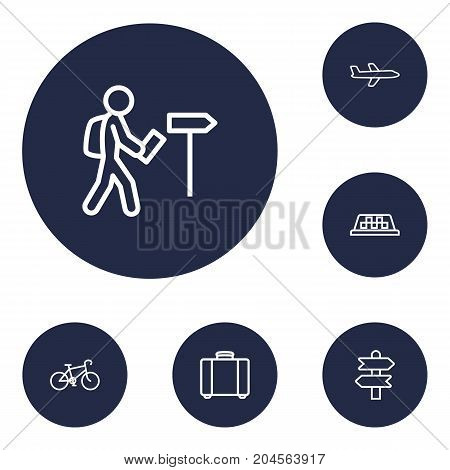 Collection Of Foreigner, Bike, Direction And Other Elements.  Set Of 6 Relax Outline Icons Set.