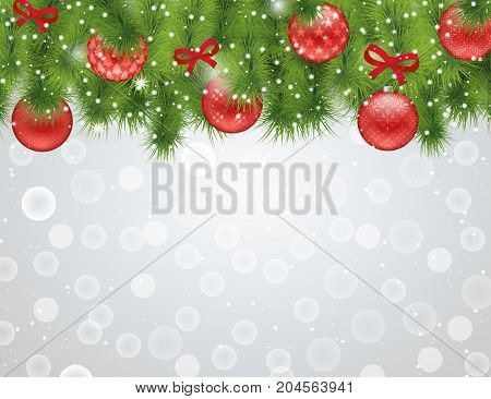 Christmas red background with fir branches and balls with ornament bow sparkling lights snowflakes and bokeh. Vector illustration. Christmas and New Year pattern