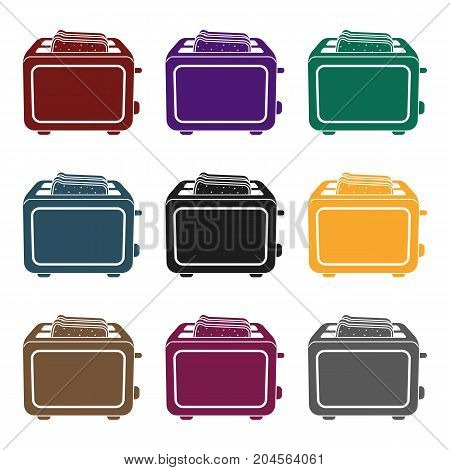 Toaster icon in black style isolated on white background. Household appliance symbol vector illustration.