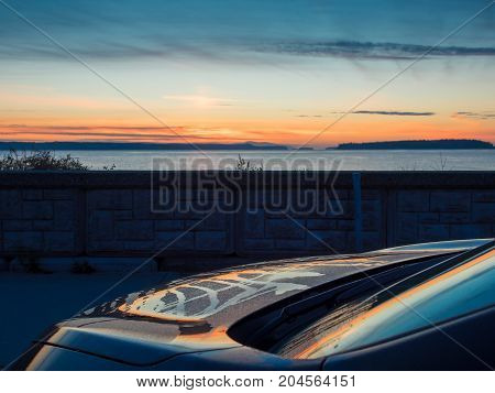 Sunset view at the shore in Sidney Vancouver Island British Columbia Canada