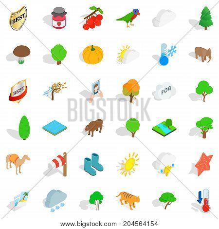 Wild animal icons set. Isometric style of 36 wild animal vector icons for web isolated on white background