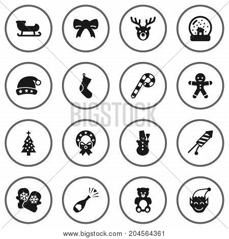 Collection Of Gnome, Decoration, Lollipop And Other Elements.  Set Of 16 New Icons Set.