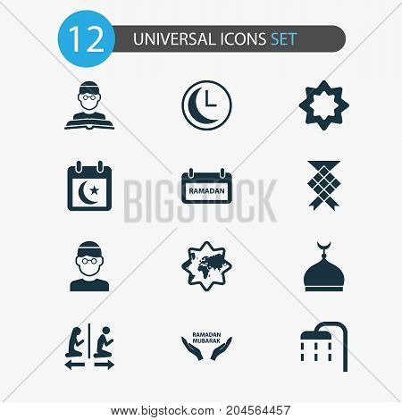 Holiday Icons Set. Collection Of Date, Malay, Mosque And Other Elements