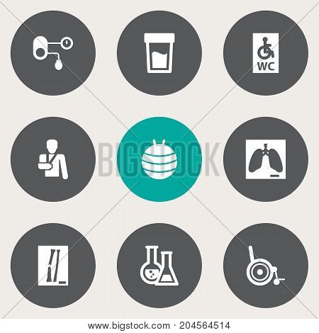 Collection Of Flask, Wheelchair Toilet, Lung And Other Elements.  Set Of 9 Healthy Icons Set.