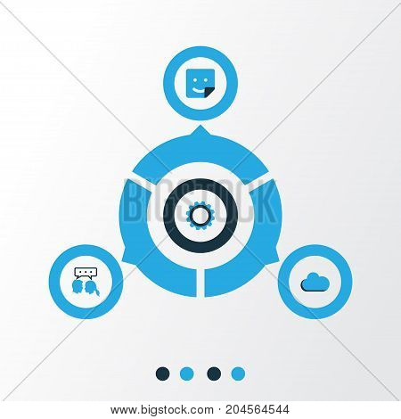 Social Colorful Icons Set. Collection Of Cogwheel, Sticker, Cloud And Other Elements
