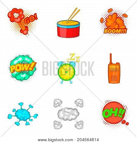 Drum bit icons set. Cartoon set of 9 drum bit vector icons for web isolated on white background