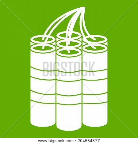 Dynamite sticks icon white isolated on green background. Vector illustration