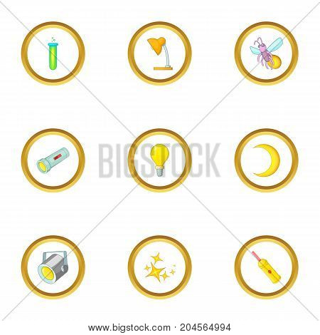 Sources of light icons set. Cartoon style set of 9 sources of light vector icons for web design