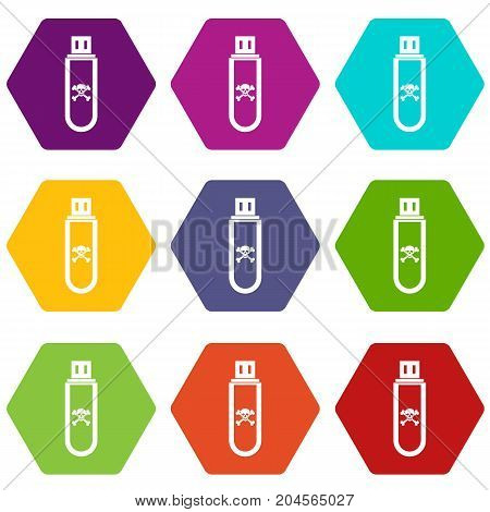 Infected USB flash drive icon set many color hexahedron isolated on white vector illustration