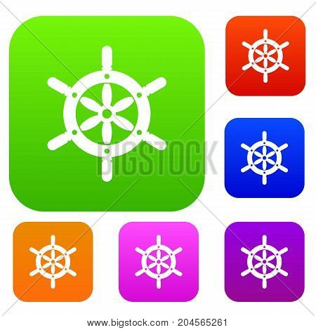 Ship wheel set icon color in flat style isolated on white. Collection sings vector illustration