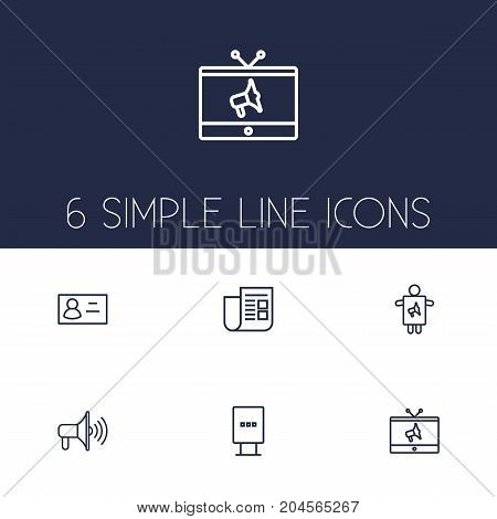 Collection Of Newspaper, Worker, Promotion And Other Elements.  Set Of 6 Advertising Outline Icons Set.