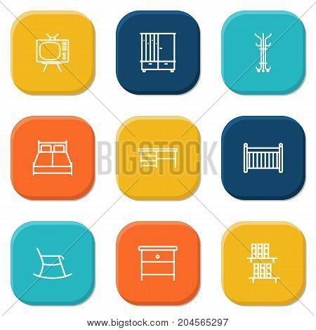 Collection Of Hall Tree, Desk, Bookshelf And Other Elements.  Set Of 9 Set Outline Icons Set.
