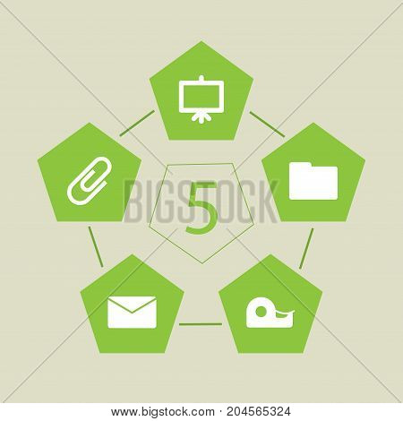 Collection Of Folder, Mail, Clip And Other Elements.  Set Of 5 Stationery Icons Set.