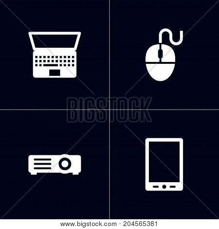 Collection Of Notebook, Palmtop, Show And Other Elements.  Set Of 4 Laptop Icons Set.