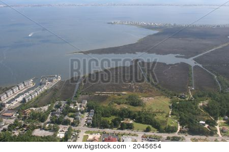 Aerial View Of Sound Outerbanks North Carolina