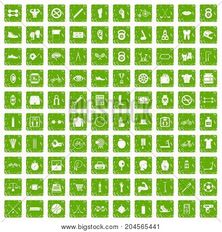 100 kettlebell icons set in grunge style green color isolated on white background vector illustration