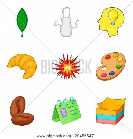 Coffee break icon set. Cartoon set of 9 coffee break vector icons for web design isolated on white background