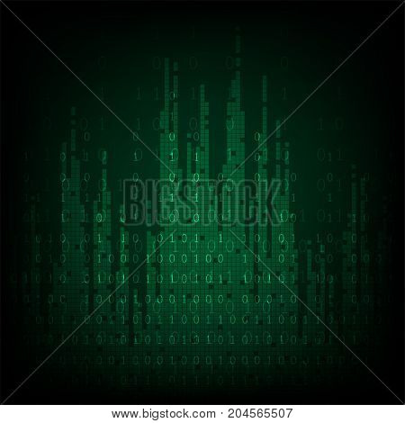 Technology in digital concept on a dark green background.