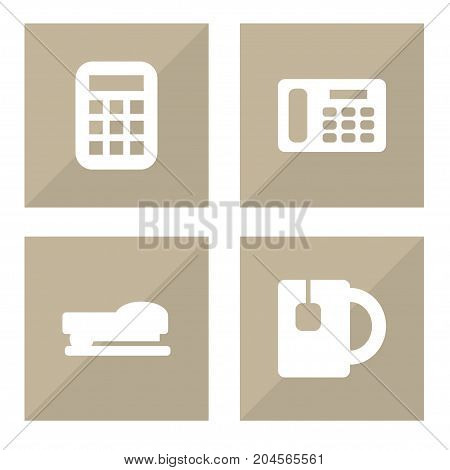 Collection Of Cup, Calculate, Sew And Other Elements.  Set Of 4 Bureau Icons Set.