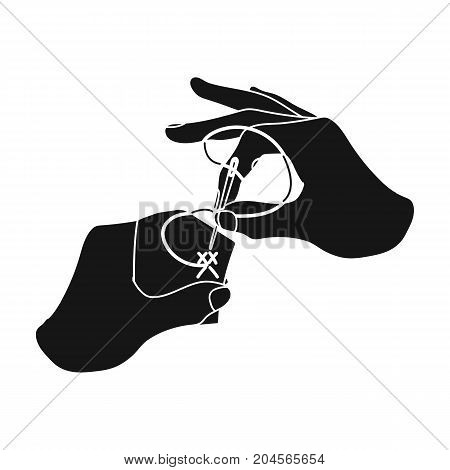 Needle with thread for manual sewing. Sewing and equipment single icon in black style vector symbol stock illustration .