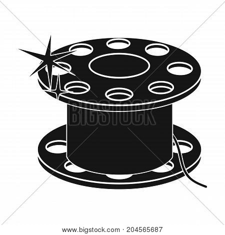 Metal bobbin for sewing. Sewing and equipment single icon in black style vector symbol stock illustration .