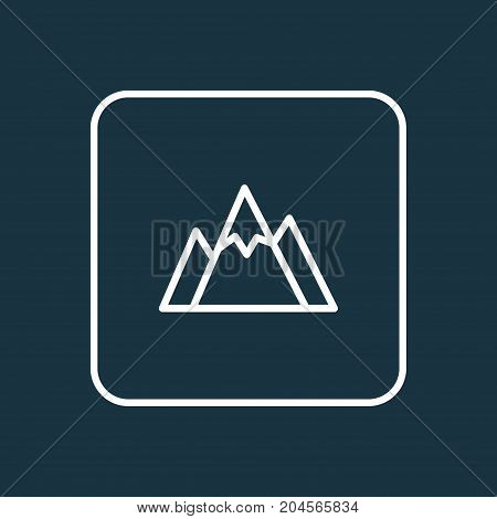 Premium Quality Isolated Hill Element In Trendy Style.  Mountains Outline Symbol.
