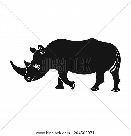 A large Indian rhinoceros. A wild animal, a rhinoceros single icon in black style vector symbol stock illustration .