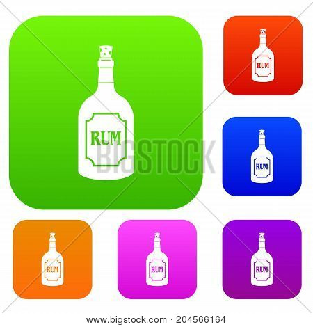 Rum set icon color in flat style isolated on white. Collection sings vector illustration