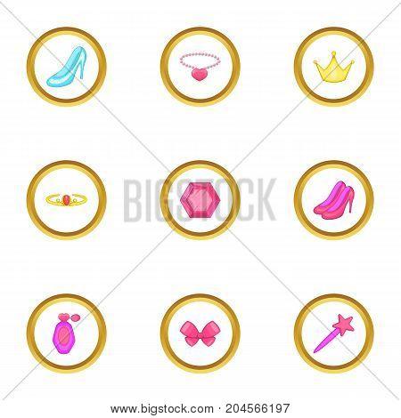 Princess accessories icons set. Cartoon style set of 9 princess accessories vector icons for web design