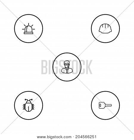 Collection Of Bodyguard, Helmet, Virus And Other Elements.  Set Of 5 Procuring Outline Icons Set.