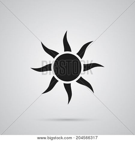 Vector Solar Element In Trendy Style.  Isolated Sun Icon Symbol On Clean Background.