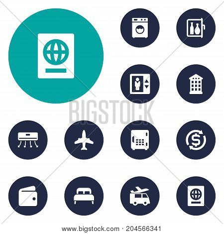 Collection Of Chiller, Citizenship, Airplane And Other Elements.  Set Of 12 Travel Icons Set.