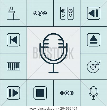 Multimedia Icons Set. Collection Of Music Control, Gramophone, Stop Button And Other Elements